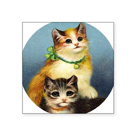 "Cute Kittens Square Sticker 3"" x 3"""
