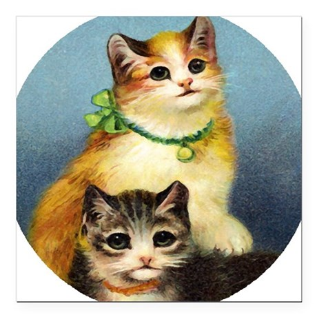 "Cute Kittens Square Car Magnet 3"" x 3"""