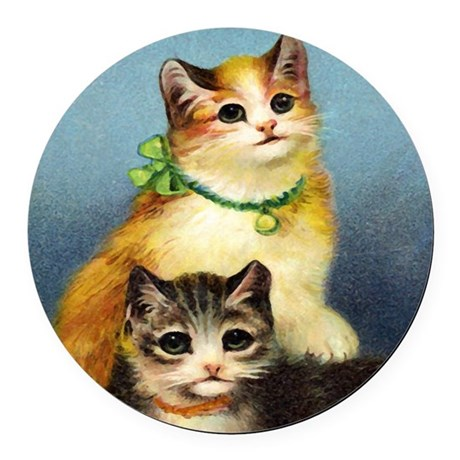 Cute Kittens Round Car Magnet