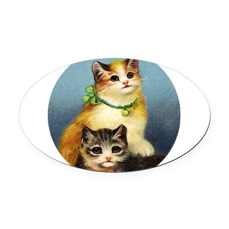 Cute Kittens Oval Car Magnet