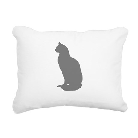Grey Cat Rectangular Canvas Pillow