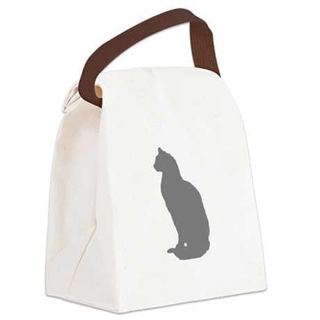 Grey Cat Canvas Lunch Bag