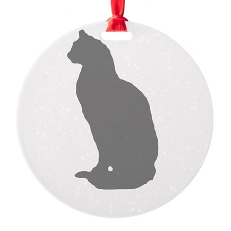 Grey Cat Round Ornament