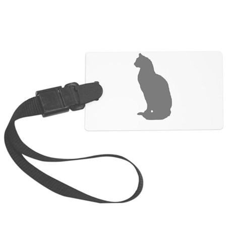 Grey Cat Large Luggage Tag