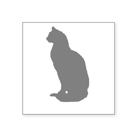 "Grey Cat Square Sticker 3"" x 3"""