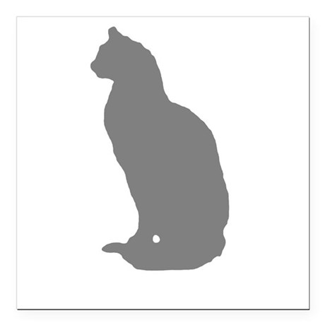 "Grey Cat Square Car Magnet 3"" x 3"""