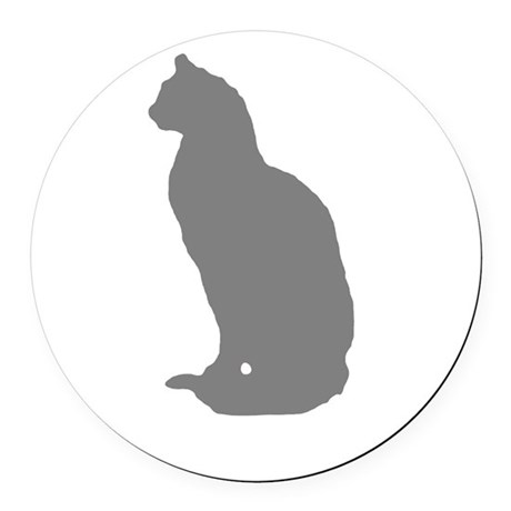 Grey Cat Round Car Magnet