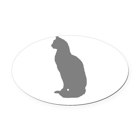Grey Cat Oval Car Magnet