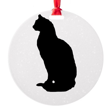 cat silhouette Round Ornament