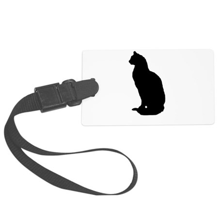 cat silhouette Large Luggage Tag