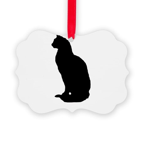 cat silhouette Picture Ornament