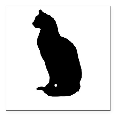 "cat silhouette Square Car Magnet 3"" x 3"""