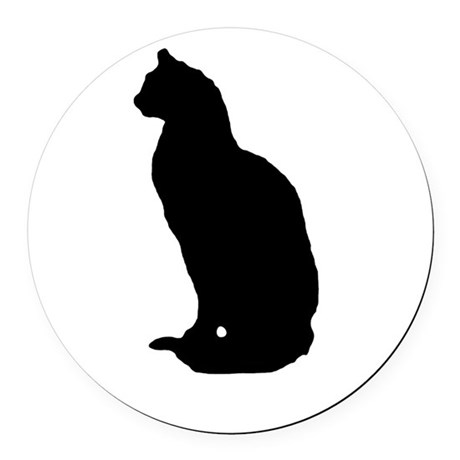 cat silhouette Round Car Magnet