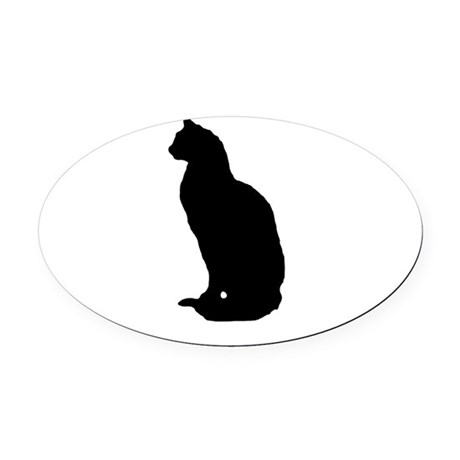 cat silhouette Oval Car Magnet