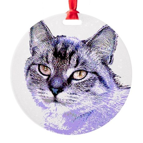 Purple Cat Round Ornament