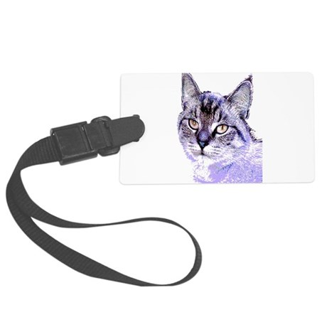 Purple Cat Large Luggage Tag