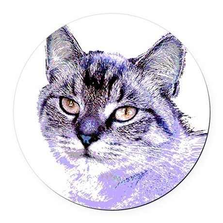 Purple Cat Round Car Magnet
