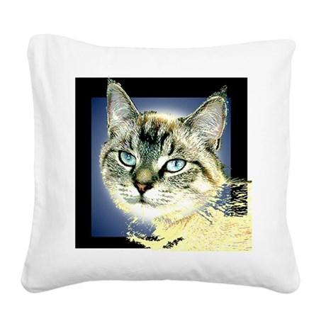 Blue Eyed Kitten Square Canvas Pillow