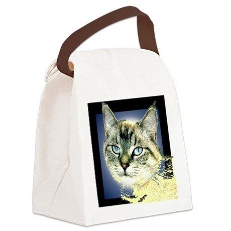 Blue Eyed Kitten Canvas Lunch Bag