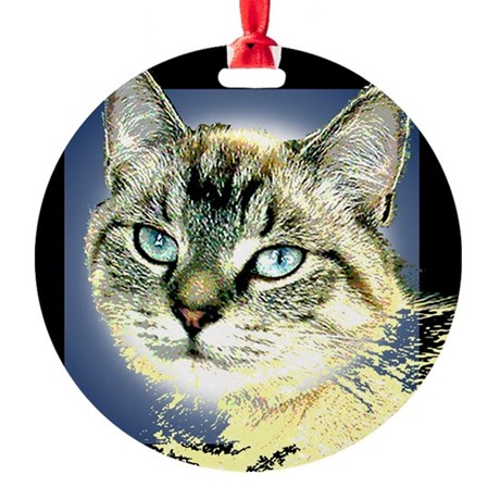 Blue Eyed Kitten Round Ornament