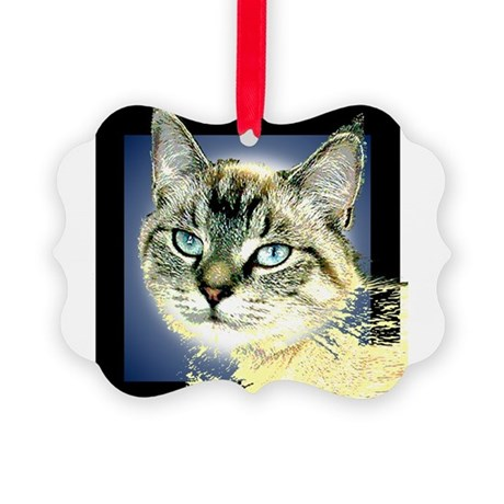 Blue Eyed Kitten Picture Ornament