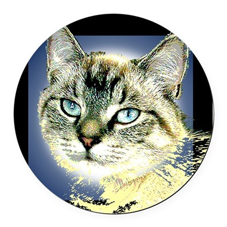 Blue Eyed Kitten Round Car Magnet