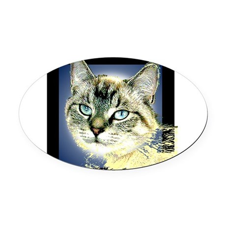 Blue Eyed Kitten Oval Car Magnet