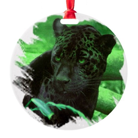 black jaguar Round Ornament