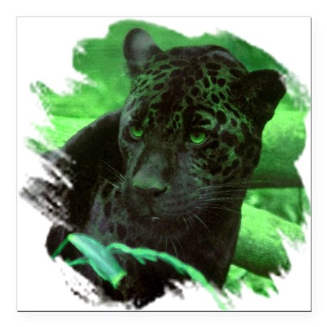 "black jaguar Square Car Magnet 3"" x 3"""