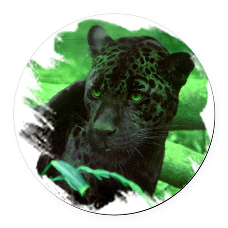 black jaguar Round Car Magnet