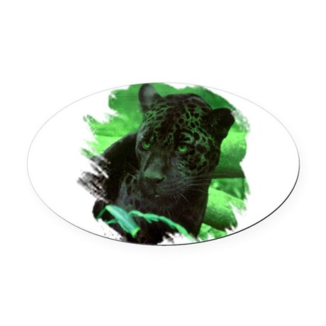 black jaguar Oval Car Magnet