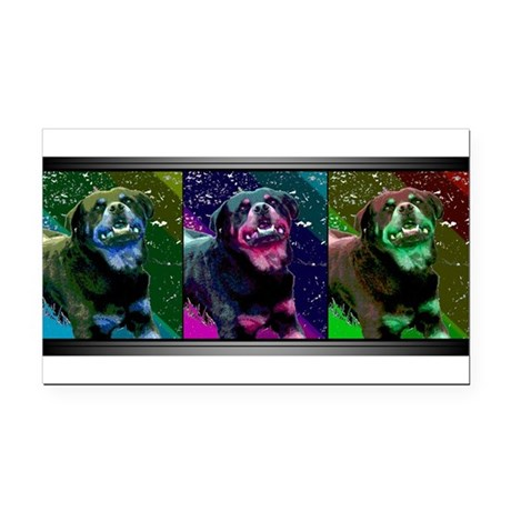Pop Art Rottweiler Rectangle Car Magnet