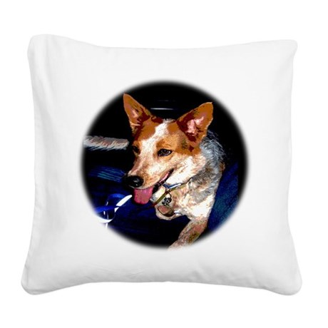 Red Heeler Square Canvas Pillow
