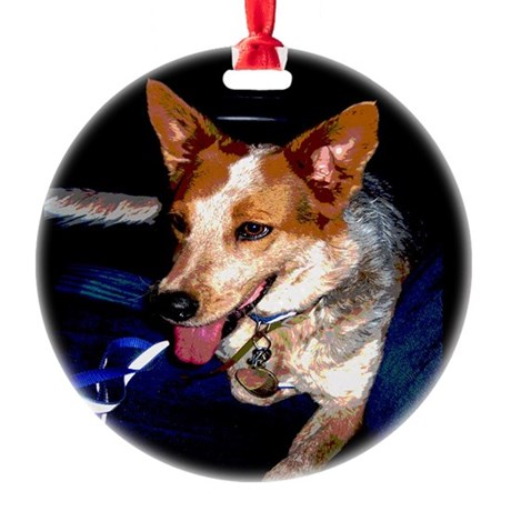 Red Heeler Round Ornament