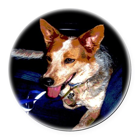 Red Heeler Round Car Magnet