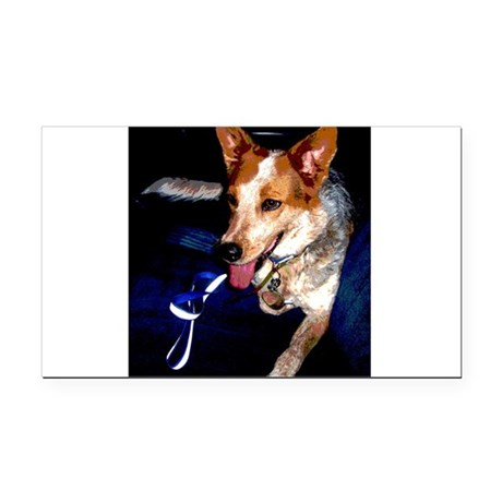 Red Heeler Rectangle Car Magnet