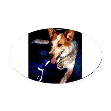 Red Heeler Oval Car Magnet