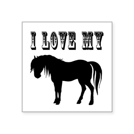 "pony2.png Square Sticker 3"" x 3"""