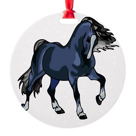Blue Horse Round Ornament