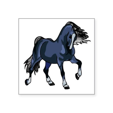 "Blue Horse Square Sticker 3"" x 3"""