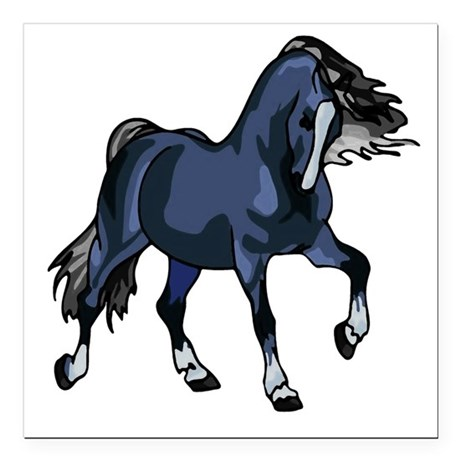 "Blue Horse Square Car Magnet 3"" x 3"""