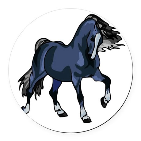 Blue Horse Round Car Magnet