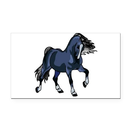 Blue Horse Rectangle Car Magnet