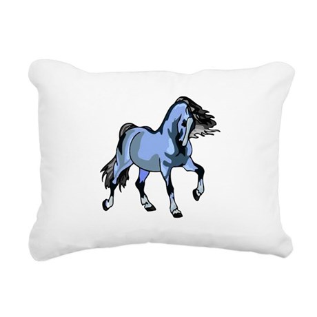 Lt Blue Horse Rectangular Canvas Pillow