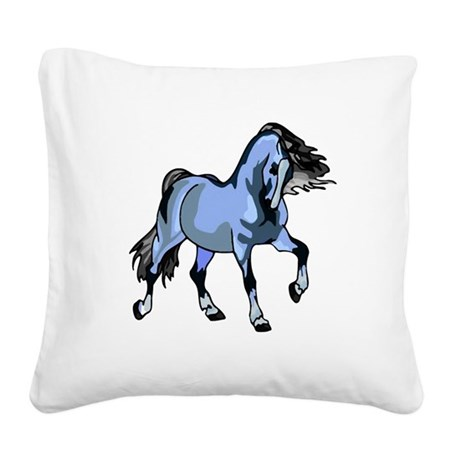 Lt Blue Horse Square Canvas Pillow
