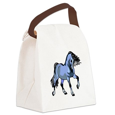 Lt Blue Horse Canvas Lunch Bag