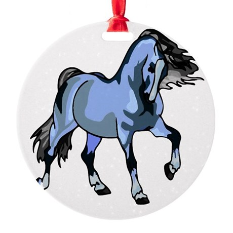 Lt Blue Horse Round Ornament
