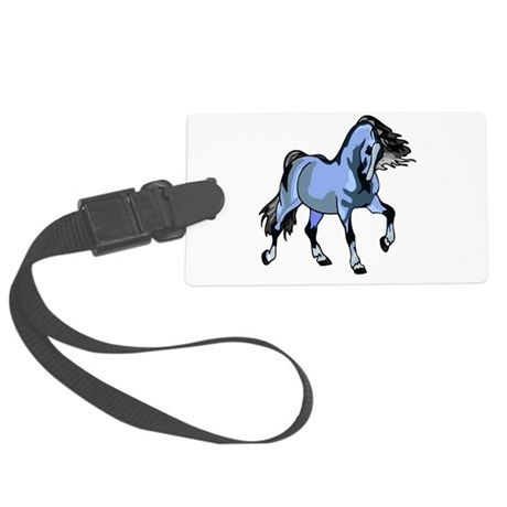 Lt Blue Horse Large Luggage Tag