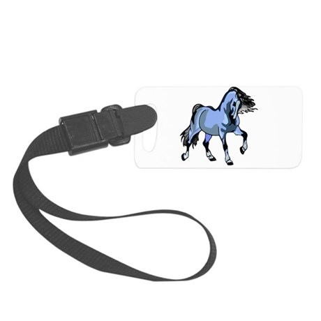 Lt Blue Horse Small Luggage Tag