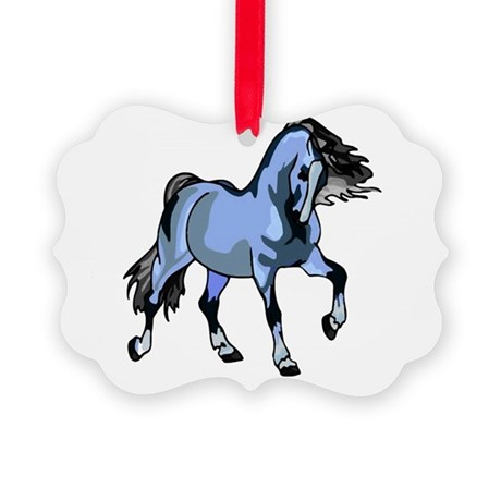 Lt Blue Horse Picture Ornament